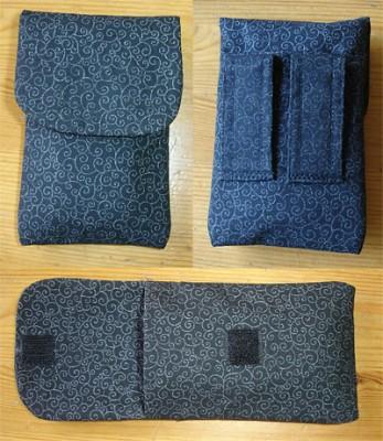 Överst fr.v.: Framsida, baksida med hällor och extra ficka. Nederst: Öppet.