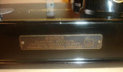 Singer Featherweight 221 skylt