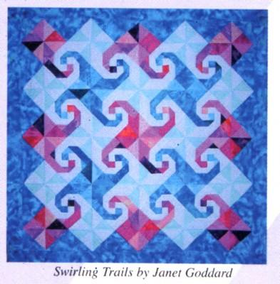 Swirling trails. Snails trail och pinwheel-block som smälter ihop.
